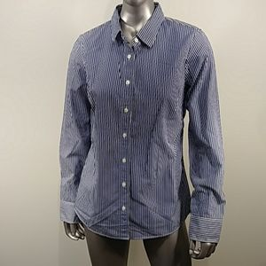 J Crew Pinstripe Long Sleeve Shirt Top 100% Cotton